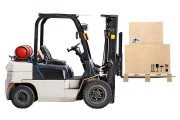 a forklift truck and palletized crates